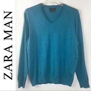 Zara Man | Blue V-neck Cashmere Sweater Large